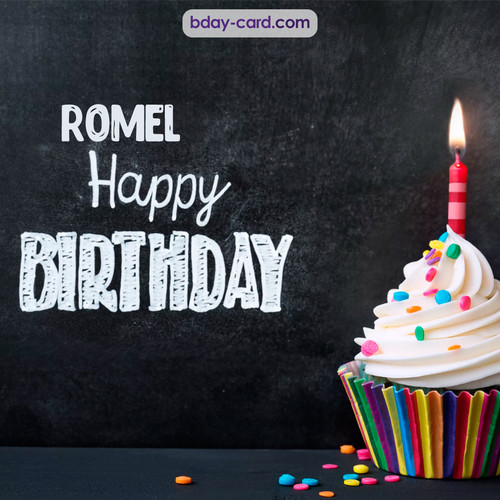 Happy Birthday images for Romel with Cupcake