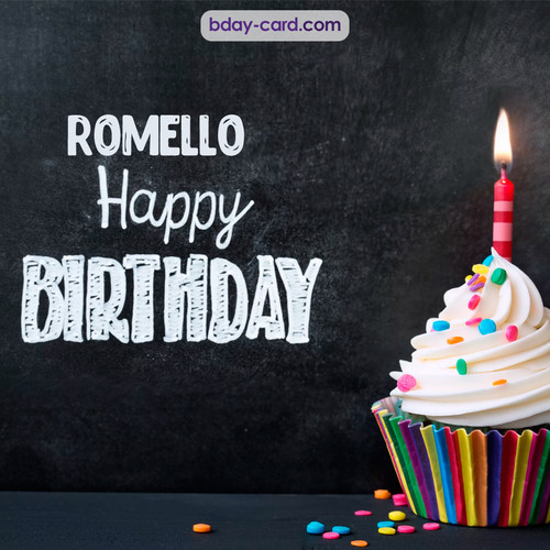 Happy Birthday images for Romello with Cupcake