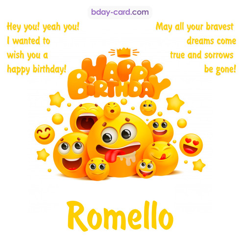 Happy Birthday images for Romello with Emoticons