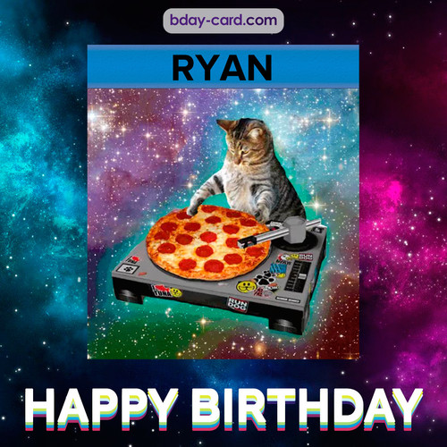 Meme with a cat for Ryan - Happy Birthday