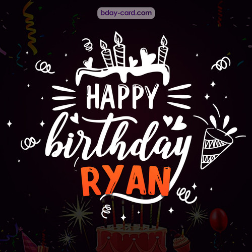 Black Happy Birthday cards for Ryan