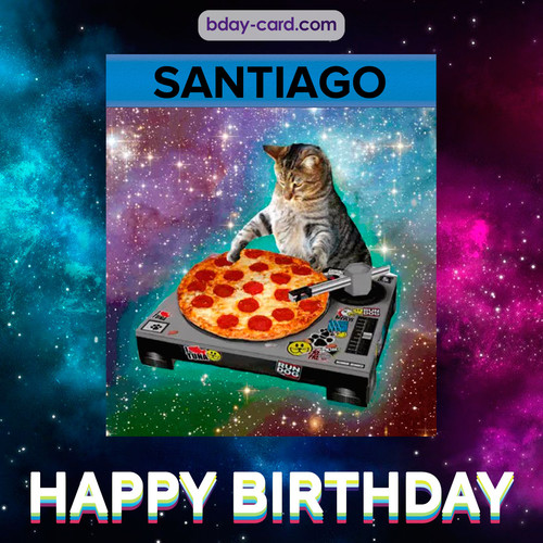 Meme with a cat for Santiago - Happy Birthday