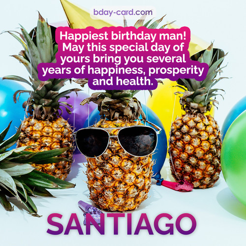 Happiest birthday pictures for Santiago with Pineapples