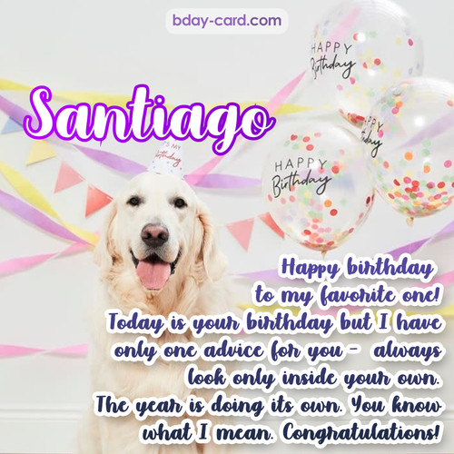 Happy Birthday pics for Santiago with Dog