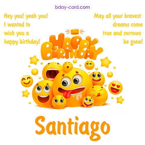 Happy Birthday images for Santiago with Emoticons