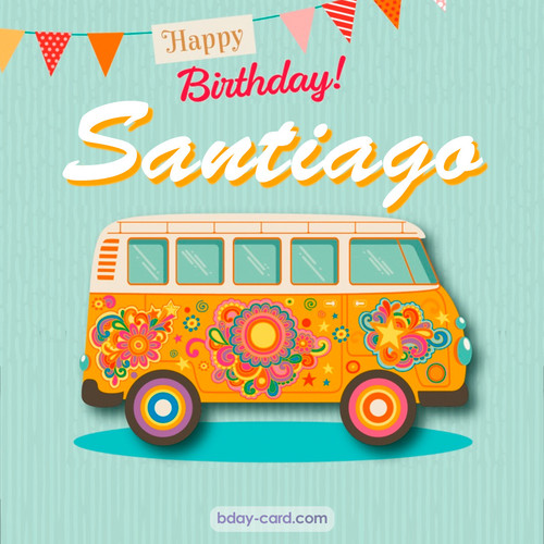 Happiest birthday pictures for Santiago with hippie bus