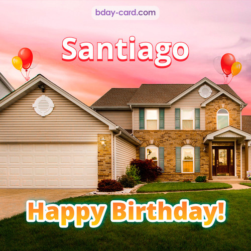 Birthday pictures for Santiago with house