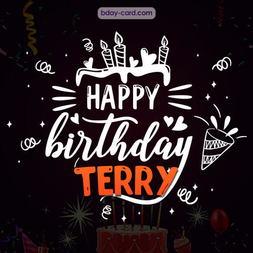 Black Happy Birthday cards for Terry
