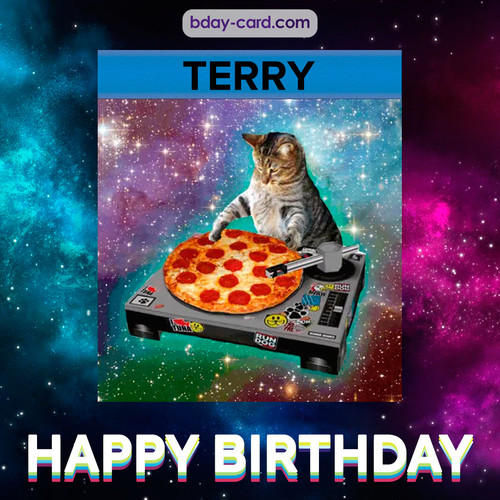 Meme with a cat for Terry - Happy Birthday