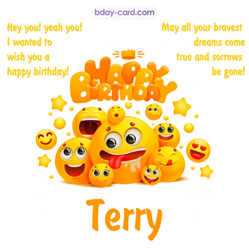 Happy Birthday images for Terry with Emoticons