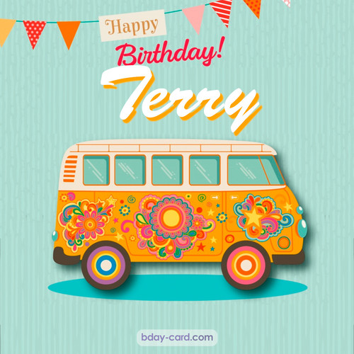 Happiest birthday pictures for Terry with hippie bus
