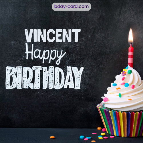 Happy Birthday images for Vincent with Cupcake