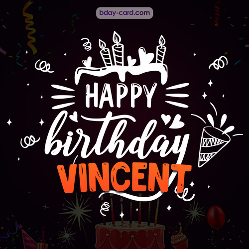 Black Happy Birthday cards for Vincent