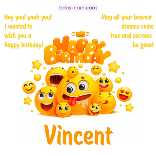 Happy Birthday images for Vincent with Emoticons