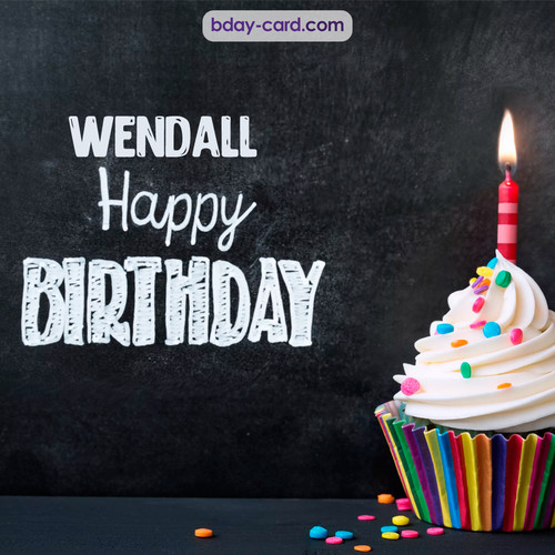 Happy Birthday images for Wendall with Cupcake