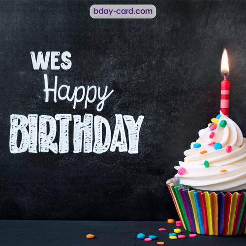 Happy Birthday images for Wes with Cupcake