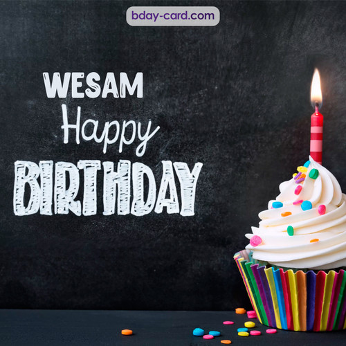 Happy Birthday images for Wesam with Cupcake