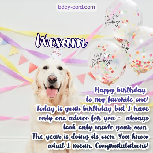 Happy Birthday pics for Wesam with Dog