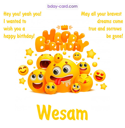 Happy Birthday images for Wesam with Emoticons