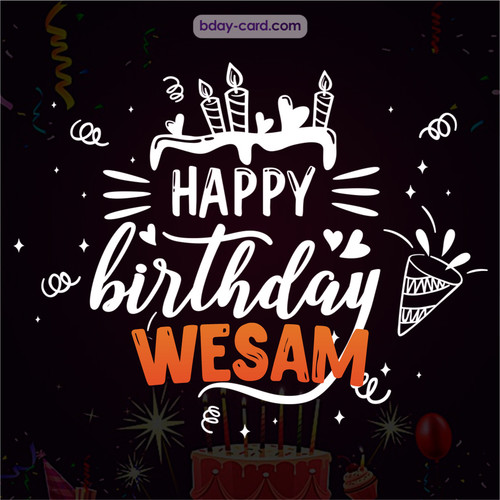 Black Happy Birthday cards for Wesam