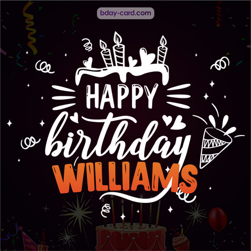 Black Happy Birthday cards for Williams