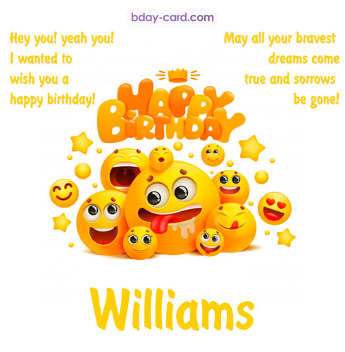 Happy Birthday images for Williams with Emoticons