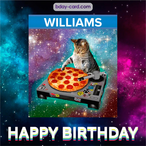 Meme with a cat for Williams - Happy Birthday