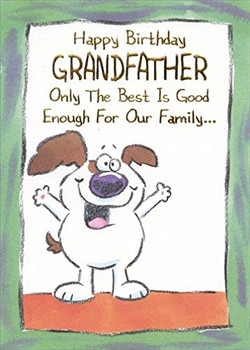 Popular birthday wishes cards for grandfather white dog w...
