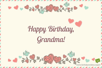 Happy birthday grandma on image of an old envelope with f...