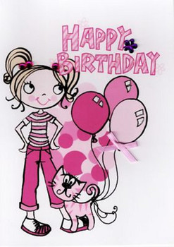 Kids girl cat birthday card cards love kates