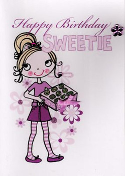 Kids girls sweetie birthday card cards love kates