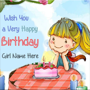 Wish you a very happy birthday greeting card with girl name
