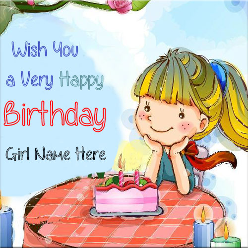 Wish You A Very Happy Birthday Greeting Card With Girl Name Happy