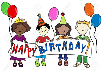 Happy multicultural cartoon kids holding a happy birthday...