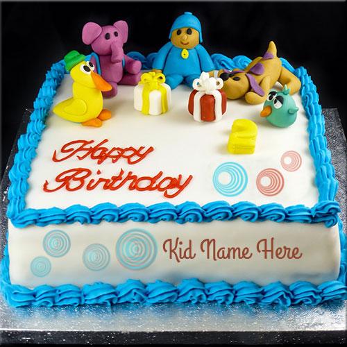 Create Cute Kid Birthday Cake With Custom Name Happy