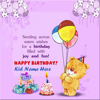 Write name on happy birthday wishes cards for kids - Happy birthday