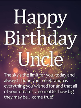 Sparkle happy birthday wishes card for uncle birthday amp...