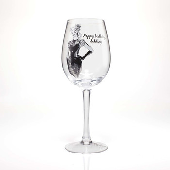 Happy birthday dahling wine glass by lolita american glas...