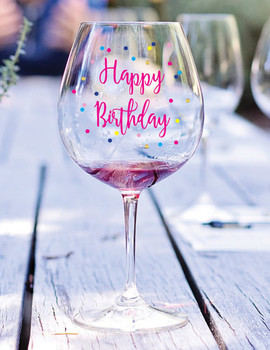 Happy birthday wine glass decal birthday gift gift under