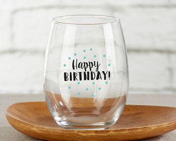 Happy birthday oz stemless wine glass