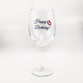 Happy birthday wine glass with a kiss the crystal shoppe
