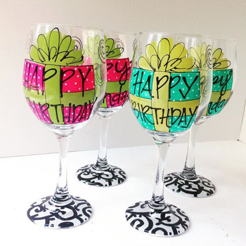 71 Best birthday wine glasses images on pinterest birthda...
