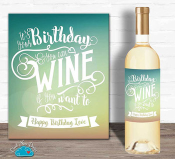 Happy birthday wine label birthday gift for her its