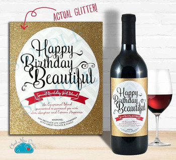 Happy birthday wine label with real glitter birthday gift...