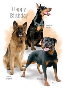 Happy birthday doberman pinscher german shepherd rottweiler