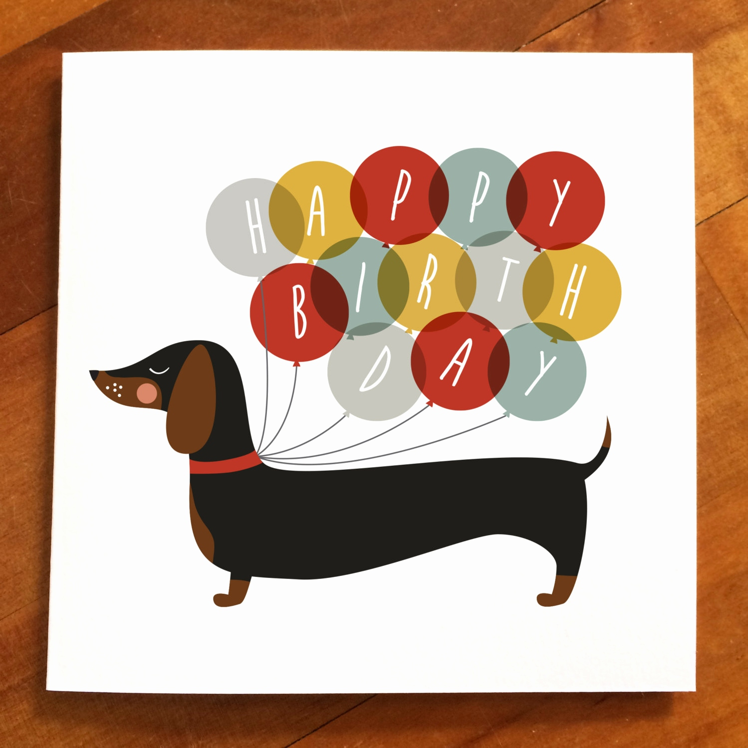 Dog Birthday Cards Elegant Dachshund Happy Ballo