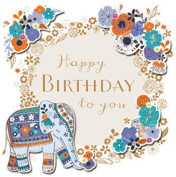 Happy Birthday Elephants Elephant Greeting Card