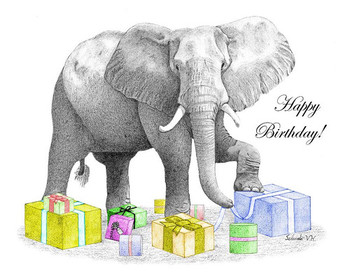 Happy Birthday Elephant Free Printable Card Gree