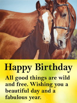 Beautiful horses happy birthday card birthday amp greetin...