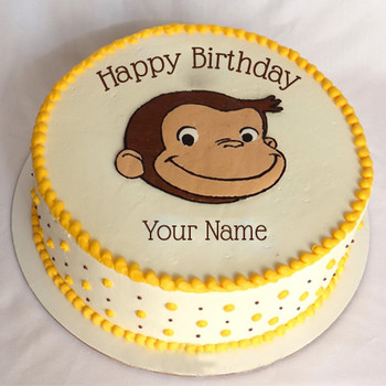 Write name on funny birthday cake with cute monkey